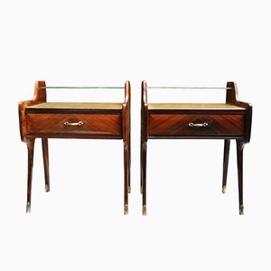 Mid-Century Italian Nightstands with Brass Finishes by Paolo Buffa, Set of 2