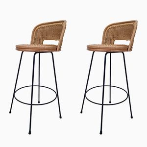 Wicker and Iron Stools from Seng, 1950s, Set of 2