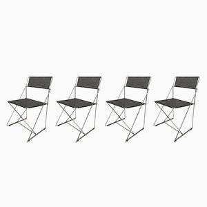 X-Line Chairs by Niels Jørgen Haugesen for Hybodan, 1970s, Set of 4