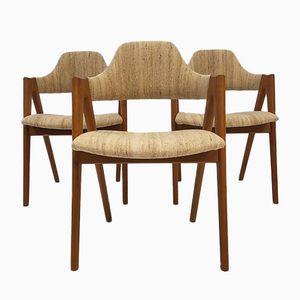 Dänische Compass Stühle aus Teak von Kai Kristiansen für SVA Møbler, 1960er, 3er Set