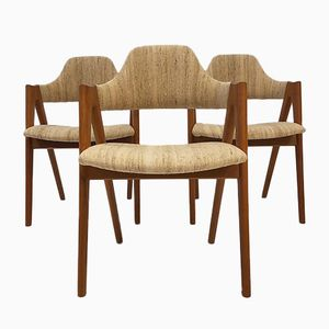 Danish Teak Compass Chairs by Kai Kristiansen for SVA Møbler, 1960s, Set of 3