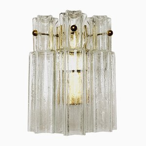Golden Ice Glass Wall Lamp from Limburg, 1960s