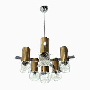 Mid-Century Brass, Glass and Chrome Chandelier, 1970s