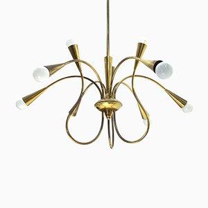 Lámpara de araña italiana Mid-Century de latón, años 50