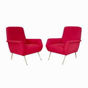 Mid-Century Italian Luminous Red Armchairs, Set of 2