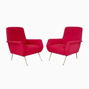Strahlend rote italienische Mid-Century Sessel, 2er Set