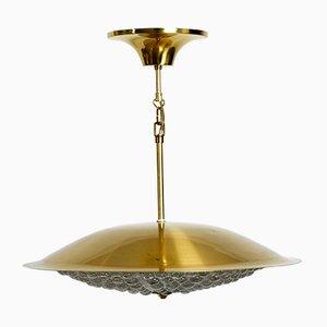 Lámpara colgante sueca grande de cristal de Carl Fagerlund para Orrefors, años 60