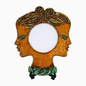 Belgian Ceramic Faces Convex Mirror by Renée Hardy, 1950s