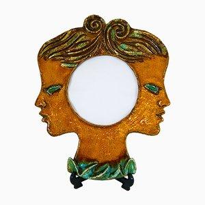 Belgian Ceramic Faces Convex Mirror by Renée Hardy, 1950s