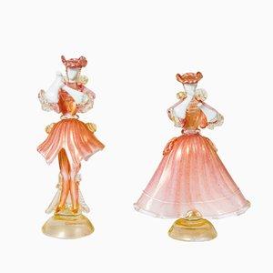 Muñecas bailando de cristal de Murano rosa y blanco y vidrio opalino dorado de SALIR, años 50. Juego de 2
