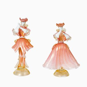 Pink & White Murano Glass and Gold Opal Glass Dancing Dolls from S.A.L.I.R., 1950s, Set of 2