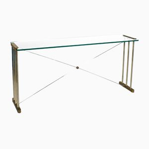 Glass & Brass Console Table by Peter Ghyczy, 1980s