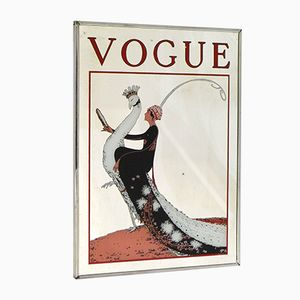 Vogue Wall Mirror with Printed Woman & Peacock Illustration, 1980s