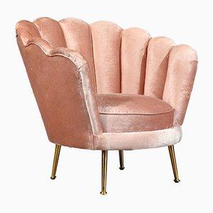 Poltrona da cocktail Art Deco in velluto rosa polvere ed ottone