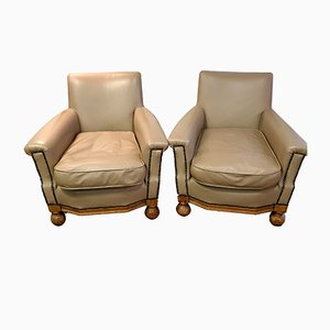 Small Leather Deco Armchairs, 1930s, Set of 2