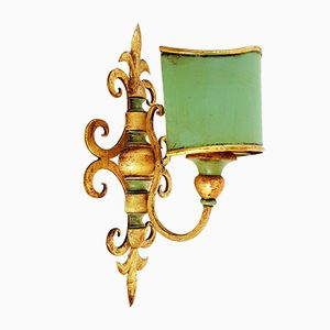 Gilt Wood & Steel Wall Lamp, 1950s