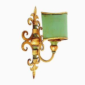 Wandlampe aus vergoldetem Holz & Stahl, 1950er