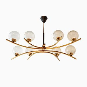 Vintage Metal, Brass & Glass Ceiling Lamp, 1950s