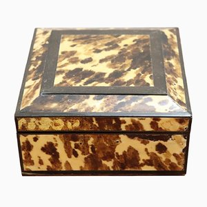Vintage Rosewood Jewelry Box with Tortoise Shell Decoration, 1940s