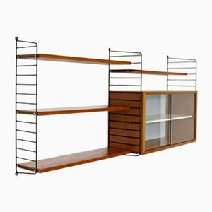 Vintage Teak Veneered Wall Unit with Showcase by Katja & Nisse Strinning for String