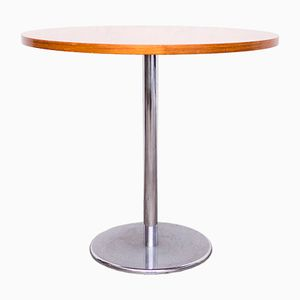 Round Teak & Chrome Side Table, 1960s