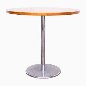 Table d'Appoint Ronde en Teck & en Chrome, 1960s