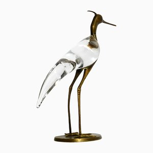 Mid-Century Vogel aus Messing & Glas von Luca Bojola für Licio Zanetti