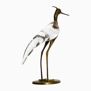 Pájaro Mid-Century moderno de vidrio y latón de Luca Bojola para Licio Zanetti