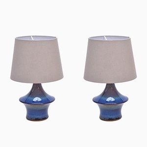 Lámparas de mesa vintage en azul de Soholm, años 70. Juego de 2