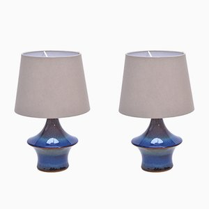 Vintage Blue Table Lamps from Soholm, 1970s, Set of 2