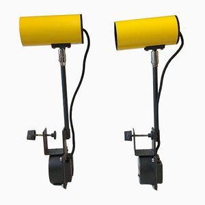Industrial Yellow Clam Spotlights from Lübcke, 1970s, Set of 2