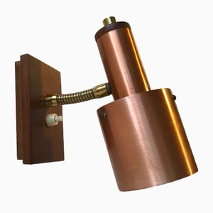 Danish Modern Copper, Brass & Teak Wall Light from E. S. Horn, 1960s