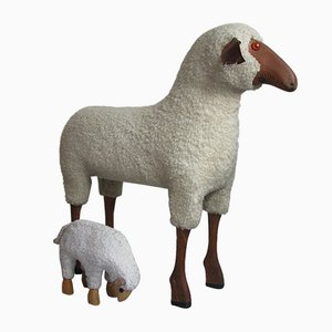 Sheep Stool and Footstool by Hanns Peter Krafft for Meier, 1960s, Set of 2