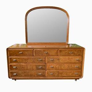Tocador estilo Art Déco de madera nudosa y espejo de American of Martinsville, años 70