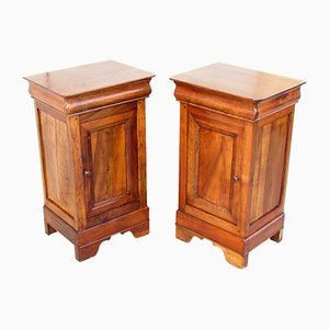 Antique Louis Philippe Walnut Bedside Tables, Set of 2