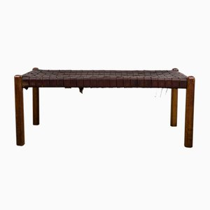 Mid-Century Woven Leather Bench