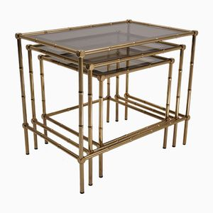 Brass Imitation Bamboo & Bronze Nesting Tables, 1950s