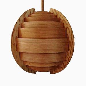 Lampadario sferico in legno di Hans-Agne Jakobsson, anni '60