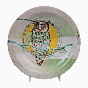 Piatto con gufo in ceramica di Maurizio Mengolini, anni '80