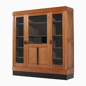 Art Deco Haagse School Oak and Beveled Glass Bookcase, 1920s