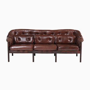 Mid-Century Modern Leather Sofa by Arne Norell for Coja