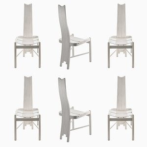 Sculptural White Painted Solid Wood Dining Chairs, 1980s, Set of 6