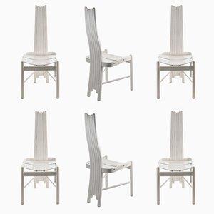 Sedie da pranzo scultoree in legno massiccio bianco, anni '80, set di 6