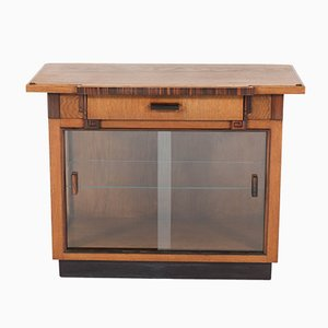 Art Deco Haagse School Oak Tea Cabinet, 1920s