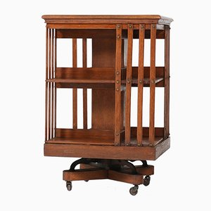 Antique Art Nouveau Oak Revolving Bookcase