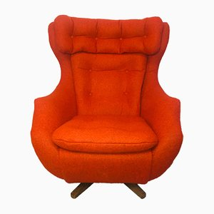 Mid-Century Wool and Teak Modern Swivel Reclining Chair from Parker Knoll, 1960s