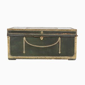 Antique Regency Brass-Mounted Leather Steam Trunk