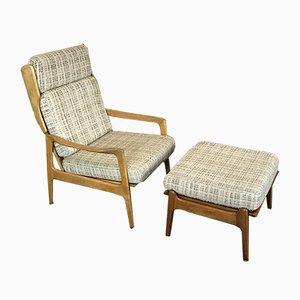 Deutscher Vintage Sessel mit Fußhocker