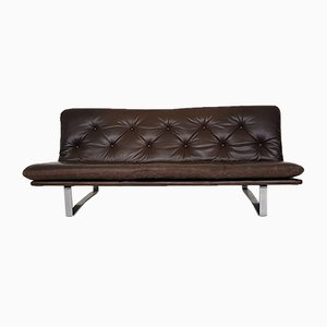 Dutch Model C683 Brown Leather Sofa by Kho Liang Ie for Artifort, 1960s