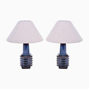 Kleine blaue dänische Tischlampen von Soholm, 1960er, 2er Set